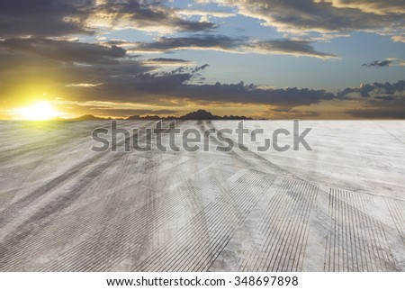 Sunset forest roads  - stock photo