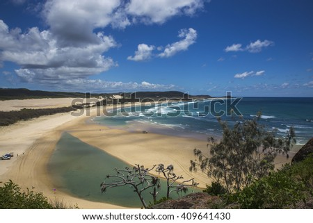 SUNSET, FRASER ISLAND, QUEENSLAND, AUSTRALIA: Great view at the beach in Queensland. - stock photo