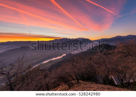 Sunset from Ajdna hill with view over Julian Alps.