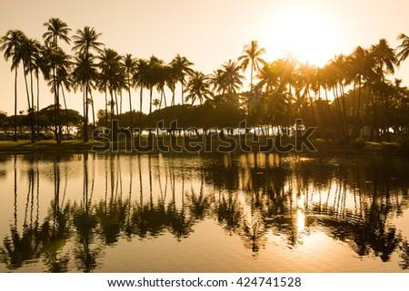 Sunset from Ala Moana Beach Park west of Waikiki, Oahu, Hawaii. - stock photo