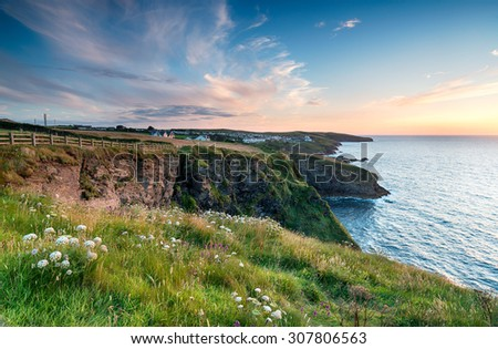 Sunset from cliffs above Port Gaverne and looking out to Port Isaac