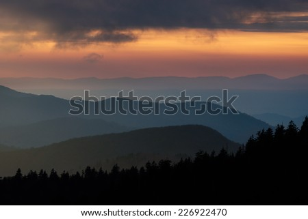 Sunset from Clingmans Dome in Great Smoky Mountains National Park, Tennessee