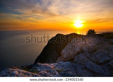 Sunset from hight mountain - stock photo