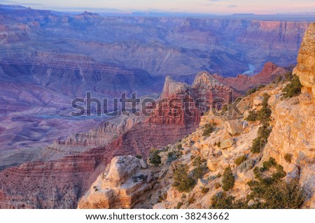 Sunset from Lipan Overlook with view of Colorado River, South Rim, Grand Canyon National Park, Arizona, USA