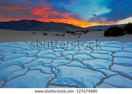 Sunset from Mesquite Flat Sand Dunes, Death Valley National Park, California - stock photo