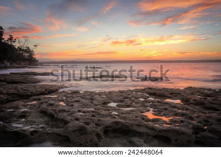 Sunset from Murray's Beach, Jervis Bay - stock photo