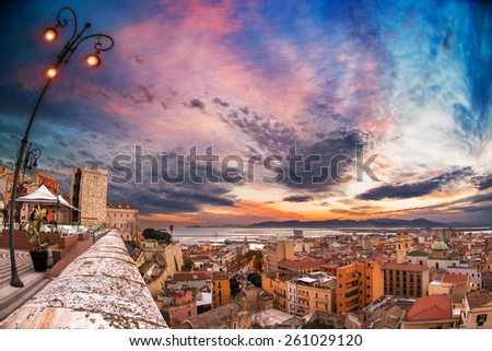 Sunset from the bastion Santa Croce with panoramic views over Cagliari - stock photo