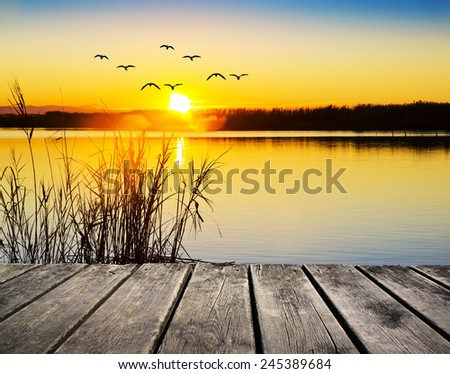 sunset from the pier - stock photo