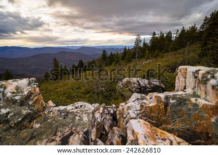 Sunset from the top of Shining Rock Mountain in the Blue Ridge Mountains of North Carolina. - stock photo
