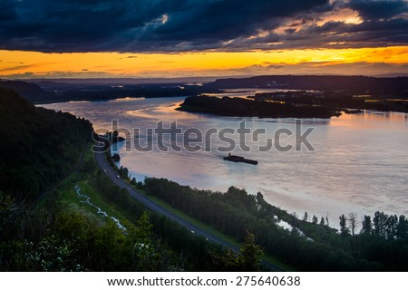 Sunset from the Vista House in Columbia River Gorge, Oregon. - stock photo
