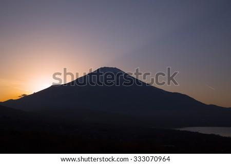 Sunset Fuji silhouette - stock photo