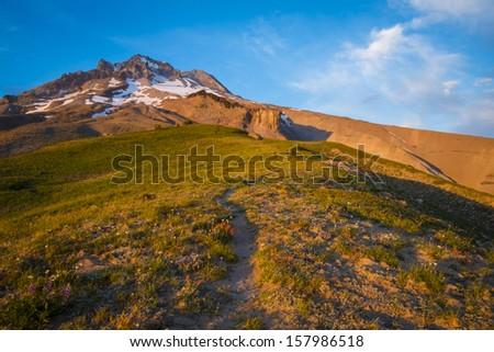 Sunset glow and hiking trail, Mt. hood, Oregon - stock photo