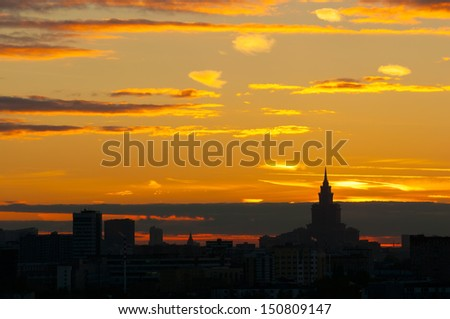Sunset Glow and  Silhouetted skyline of Moscow-2 It is the stunning sunset glow of Moscow. The Silhouette of Moscow skyline and skyscrapers are so beautiful. Triumph Palace is on the right side.