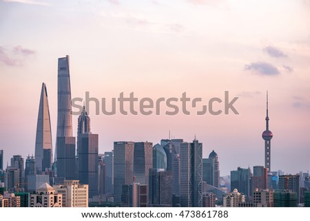 Sunset glow of Shanghai, China -  2016: Lujiazui district in Shanghai. Lujiazui has been developed specifically as a new financial district of Shanghai.