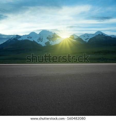 Sunset Highway Snow  - stock photo