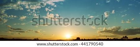 Sunset Horizon, Dusk in Australia Near The Uluru and The Olgas - stock photo