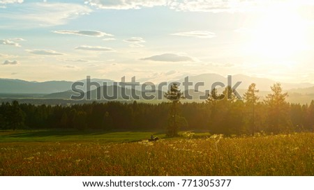 sunset in a mountain valley