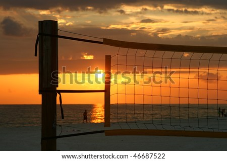 Sunset in a net. Madeira Beach Florida - stock photo