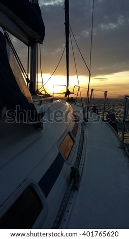 Sunset in a sailing boat, outdoors