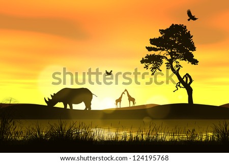 Sunset in Africa Savannah - stock photo