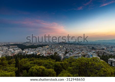 Sunset in Athens, view from Lecabetus hill, centered the Acropolis. Greece Attica - stock photo
