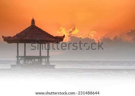 sunset in bali beach - stock photo