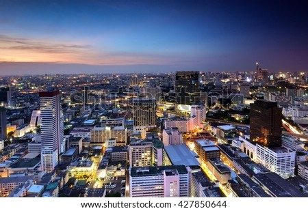 Sunset in Bangkok city of angle, Thailand