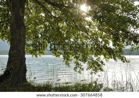sunset in Banyoles Lake Girona Catalonia Spain - stock photo