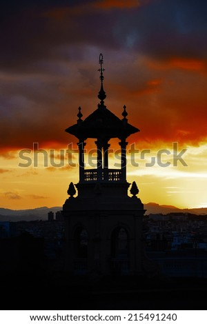 Sunset in Barcelona city, Catalonia, Spain. - stock photo
