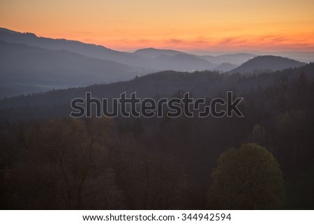 sunset in black forest, Germany - stock photo