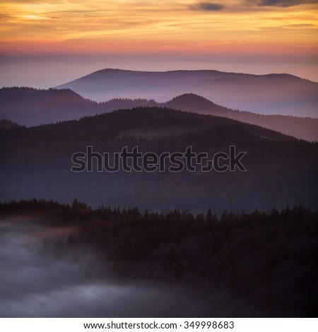 sunset in Black Forest, Germany