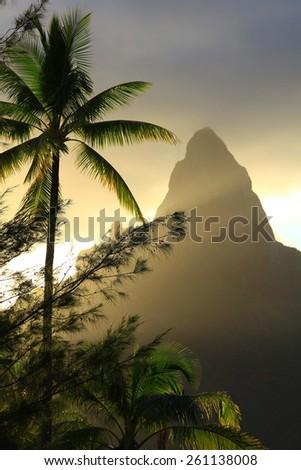 Sunset in Bora Bora - stock photo