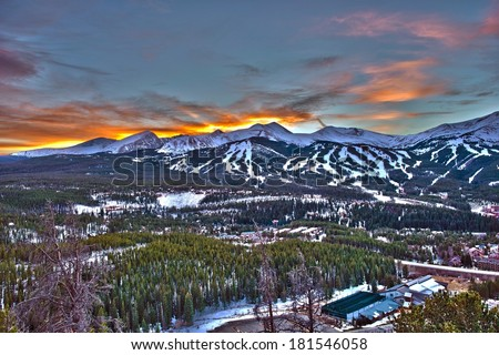Sunset in Breckenridge HDR Winter Photography.  - stock photo