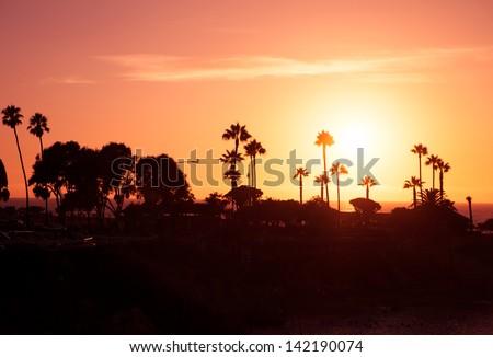 Sunset in California, La Jolla - stock photo