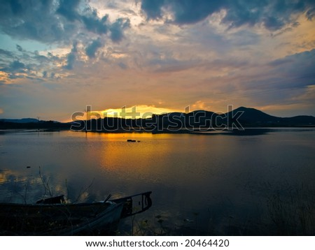 Sunset in Cantabria - stock photo