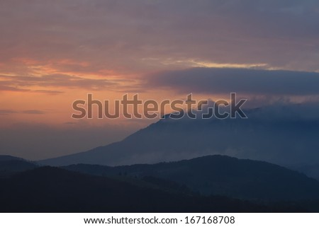 Sunset in carpatian mountains, Romania