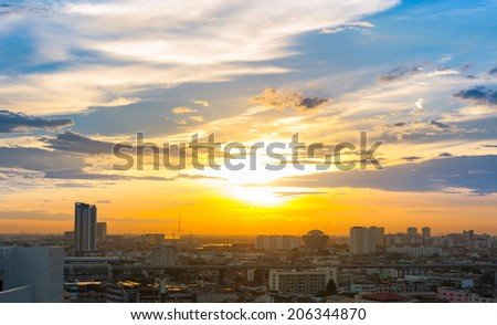 sunset in city - stock photo