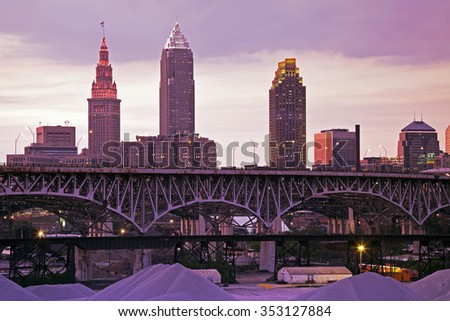 Sunset in Cleveland - downtown view from the north side. - stock photo