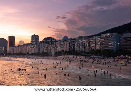 Sunset in Copacabana Beach, Rio de Janeiro, Brazil - stock photo