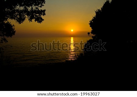 sunset in croatia - stock photo