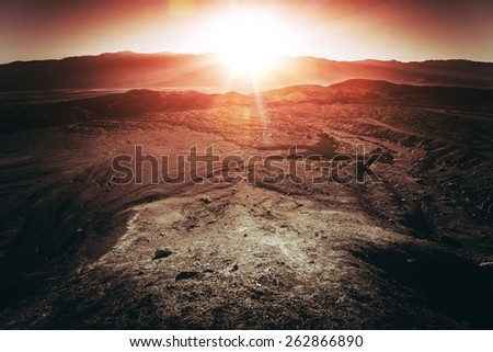 Sunset in Death Valley National Park. Below Sea Level Basin in Nevada, United States. The Hottest Place on Earth - stock photo
