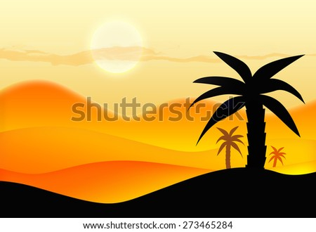 Sunset in desert - stock photo