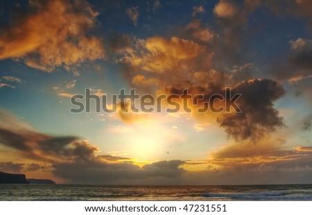 Sunset in Doolin - Ireland - stock photo