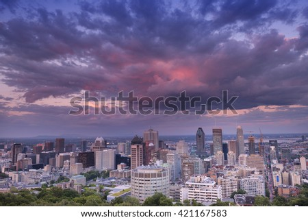 Sunset in Down Town. City View. Montreal. Quebec. Canada. Summer. Magnificent