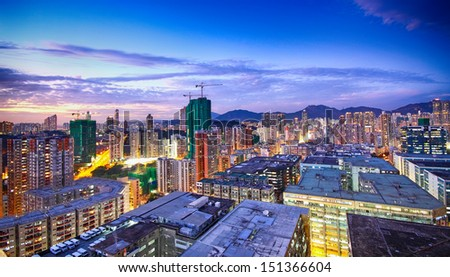 sunset in downtown area, hong kong - stock photo