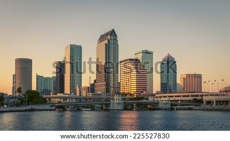 Sunset in downtown Tampa, Florida - stock photo