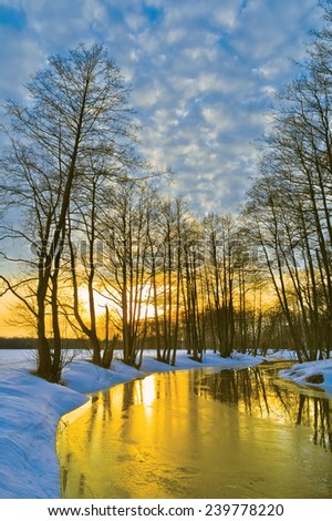 Sunset in early spring. River Sukhodrev. Kaluga region. Russia - stock photo