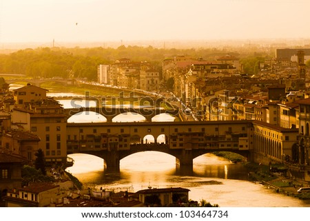 Sunset in Florence - stock photo
