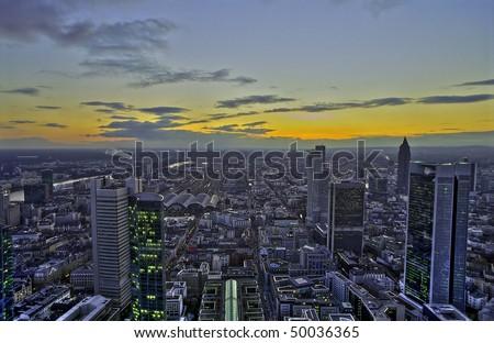 Sunset in Frankfurt, HDR - stock photo