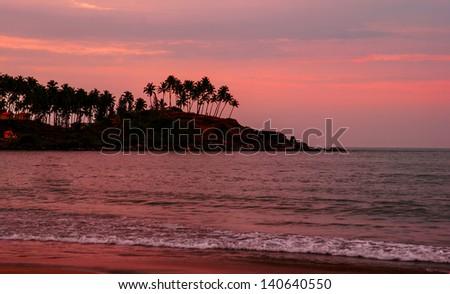 Sunset in Goa - stock photo
